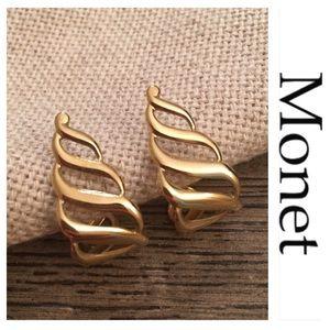 Vintage Monet Open Metal Goldtone Hoops